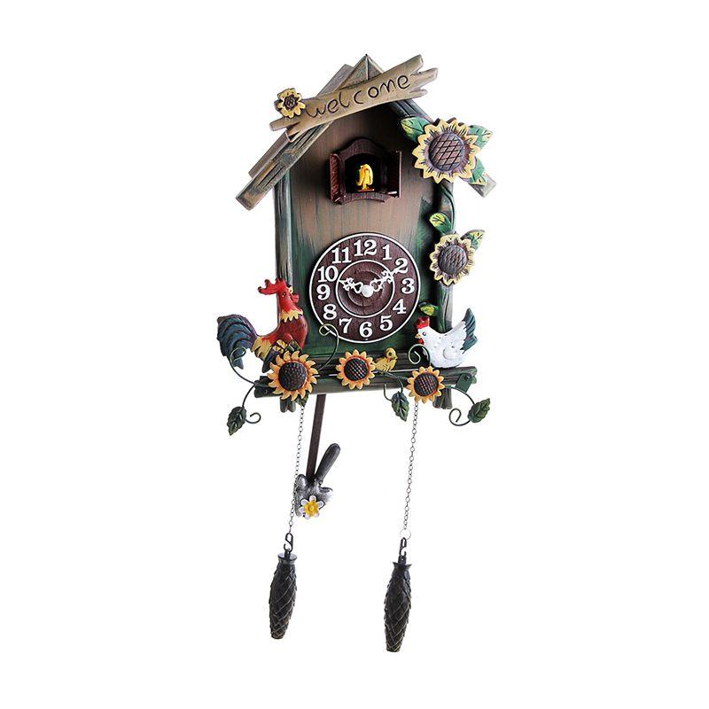 Часы настенные с кукушкой дерево, Птичий двор