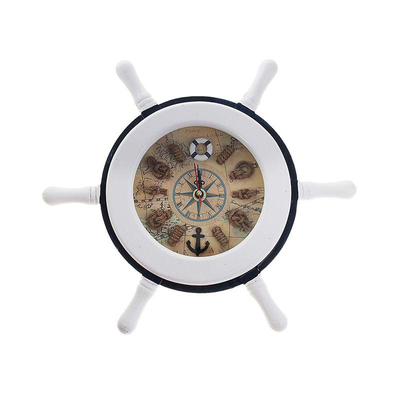 Часы настенные, Штурвал белый с морскими узлами
