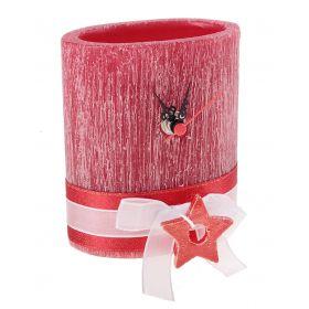 Часы из воска овальной формы красного цвета с ароматом ягод, декор-ые керамической звездой