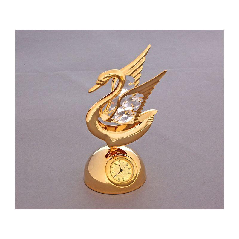 """Сувенир """"Лебедь"""" на подставке с часами и 4 хрусталиками"""