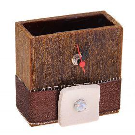 Часы из воска прямоугольной формы цвета кокоса с ароматом смолы, декор-ые керамикой d-5*11
