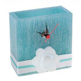 Часы из воска прямоугольной формы бирюзового цвета с ароматом мяты d-5*11 h-11 18OR4