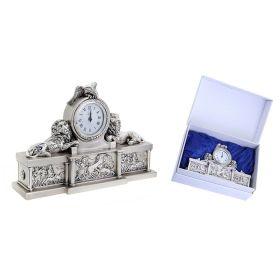 """Часы настольные с покрытием под серебро """"Львиное Царство"""", большие"""