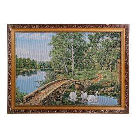 Картина гобелен Лебеди на реке 45*62 см  4057 Е025