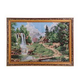 Картина гобелен  Дом у водопада 45*62 см  4057 М155