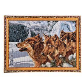 Картина гобелен Волки в горах 45*62 см  4057 D318