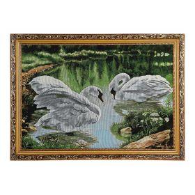 """Картина гобелен """"Белые лебеди"""" 45*62 см"""
