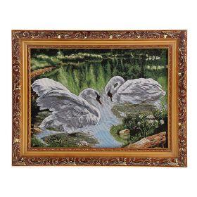 """Картина гобелен """"Белые лебеди"""" 35*45 см  Е097"""