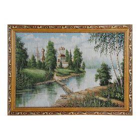 """Картина гобелен """"Церковь у реки""""  45*62 см  F306"""