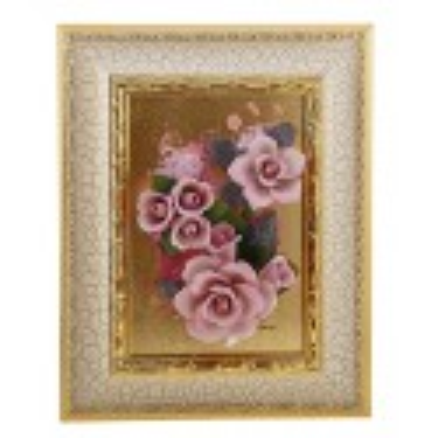 """Композиция """"Розовые розы"""" из бисквитного фарфора ручной работы в белой раме с золочением серии Арт"""