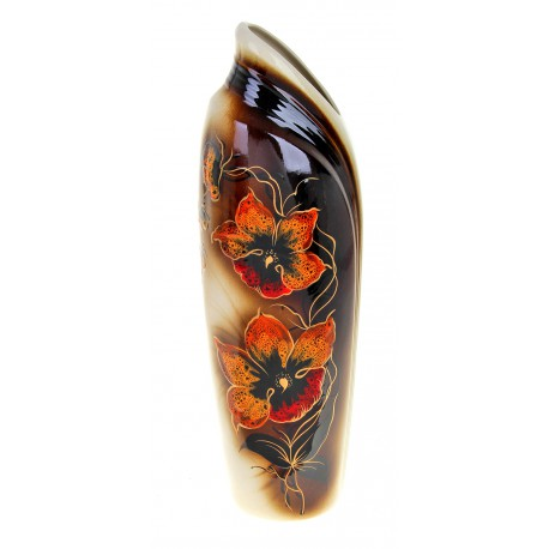 Ваза форма Инфинити 1 цветы на черном фоне
